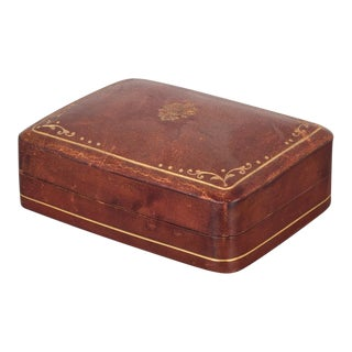 Small Mid-Century Italian All Leather Box With Embossed Gold C.1960 For Sale