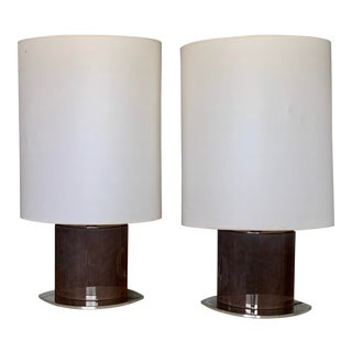 1950's Vintage Gigantic Custom Modern Luxury Boat Shape Stainless Steel and Brown Lacquered Wood Lamps - a Pair For Sale