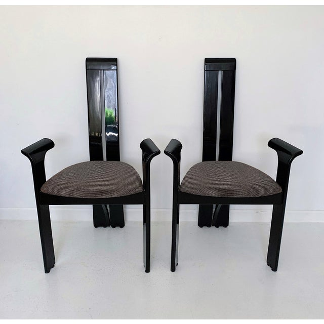 Pietro Costantini 1990s Vintage Italian Pietro Costantini High Back Black Lacquer Dining Chairs- Set of 6 For Sale - Image 4 of 13