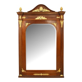 Mid 20th Century French Empire Style Mahogany and Ormolu Wall Mirror For Sale