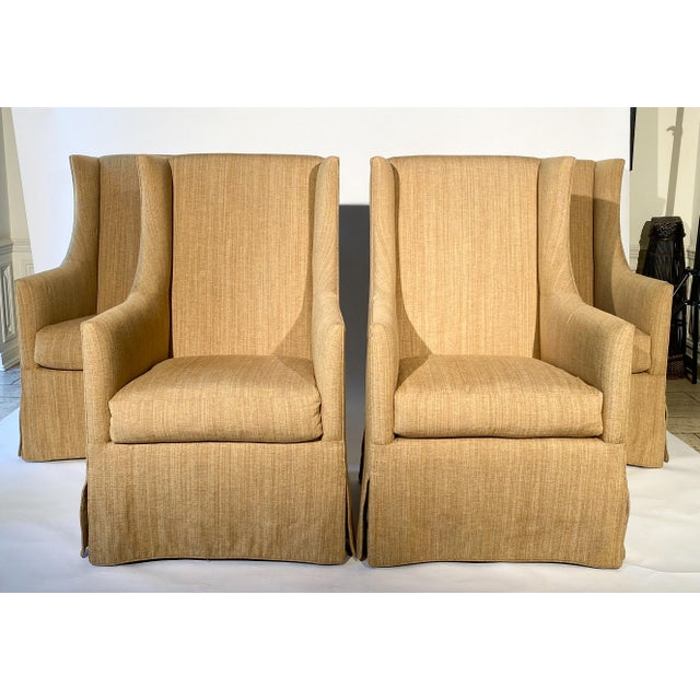 Mid-Century Modern French 19th C. Design Wingback Armchairs - A Pair For Sale - Image 3 of 12