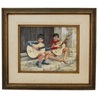 1969 Boy Buskers Sicilian Street Musicians W Classical Guitars Oil Painting For Sale
