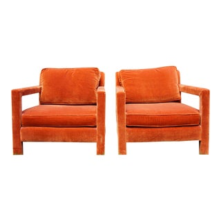 Mid Century Modern Open Arm Parsons Chairs - a Pair For Sale