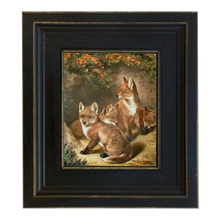 Contemporary Portrait of Four Young Foxes Print on Canvas, Framed For Sale
