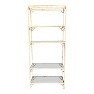 1970s Vintage Faux Bamboo Chinoiserie Etagere For Sale