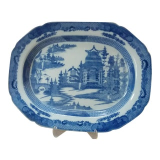 Large Antique Blue & White Chinoiserie Themed Platter For Sale