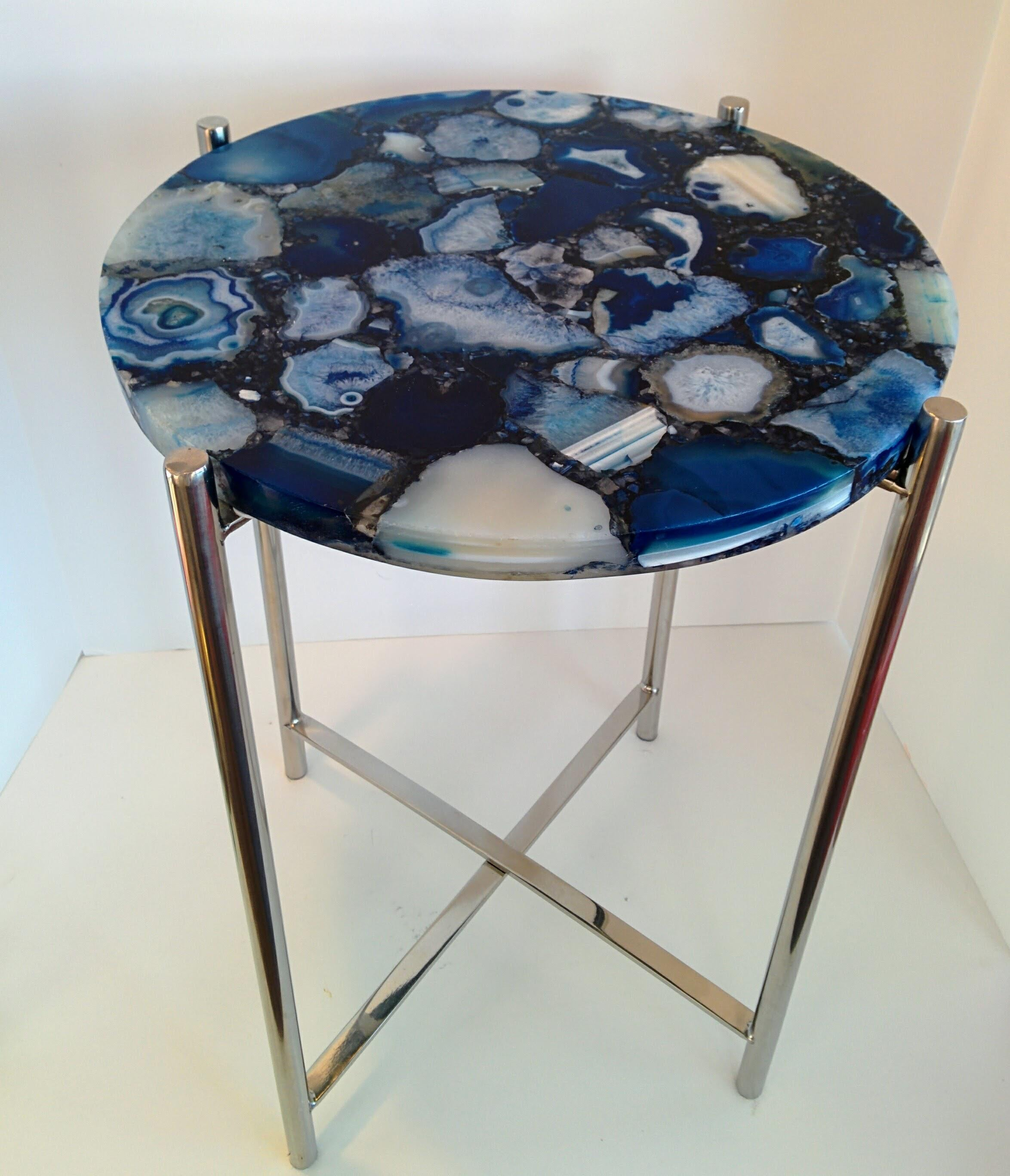 Delightful Navy Agate U0026 Chrome Side Table For Sale   Image 5 Of 10