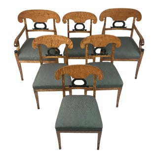 Biedermeier Austrian Curly Maple With Ebony Back Splats Chairs - Set of 6