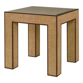 Century Furniture Newport End Table, Sand and Light Brown For Sale