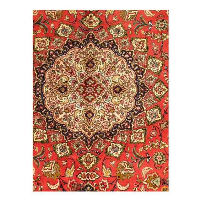 Traditional Rust Persian Silk&wool Tabriz 8'2'' X 11'3'' For Sale - Image 3 of 5