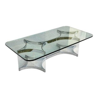 Italian Glass & Lucite Coffee Table by Alessandro Albrizzi For Sale