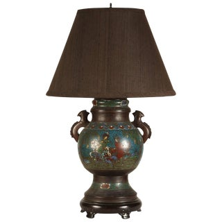 19th Century Chinese Champleve Lamp For Sale