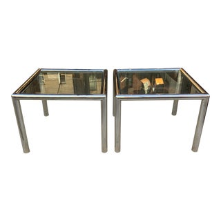 """Modern Aluminum & Glass """"Tubo"""" Side Tables by John Mascheroni - a Pair For Sale"""