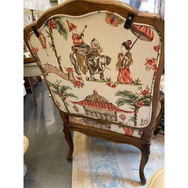 1920s French Carved Wood Chairs with Chinoiserie Fabric - a Pair For Sale In Boston - Image 6 of 10