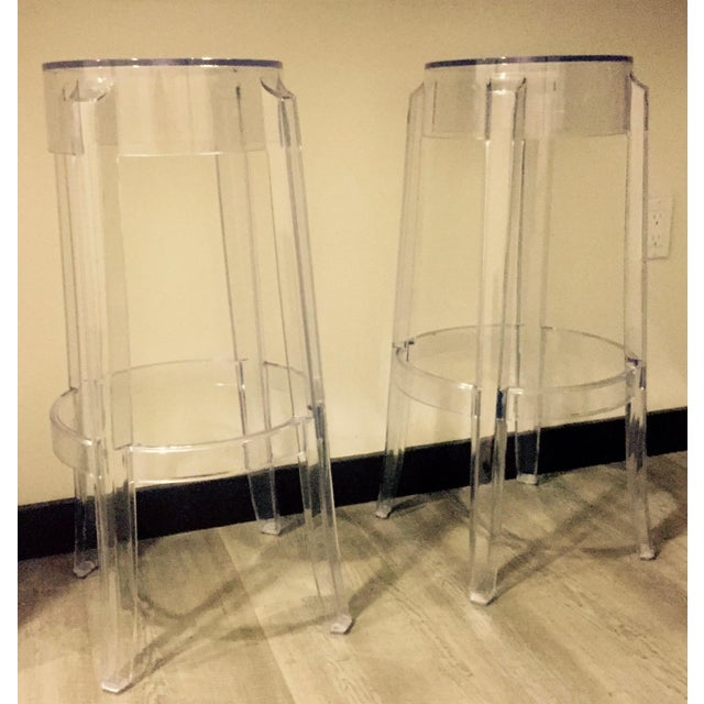 "Klipper ""Ghost"" Clear Acrylic Modern Bar Stools - A Pair - Image 2 of 6"
