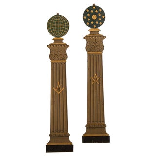 English Masonic Order Plaques Shaped like Classical Columns, Circa 1910 - a Pair For Sale