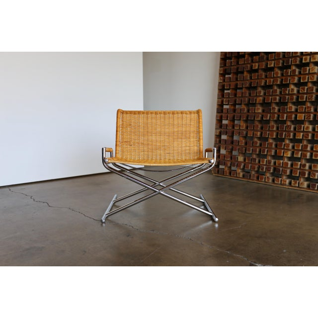 """Boho Chic 1966 Vintage Cane & Chrome Plated Steel """" Sled """" Chair For Sale - Image 3 of 10"""