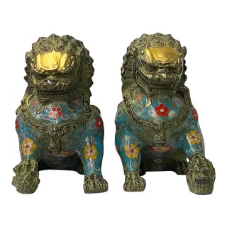 Chinese Pair Metal Blue Enamel Cloisonné Fengshui Foo Dog Figures For Sale