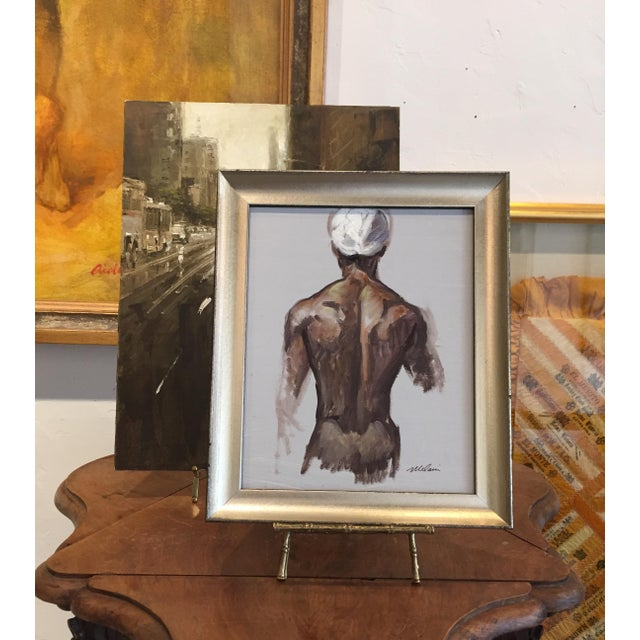 """Figurative Peter Oil Painting """"Man With Turban 1"""", Contemporary Nude Figure For Sale - Image 3 of 6"""