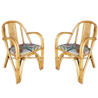 Mid-Century Swoop Arm Rattan Armchair, Pair For Sale