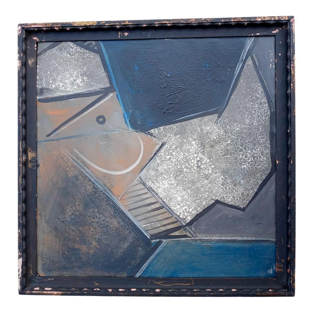 Mid 20th Century French Cubist Oil Painting, Framed For Sale