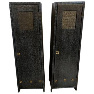 Art Deco Style Pedestal Cabinets - A Pair For Sale