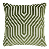 "Image of Contemporary Schumacher Vanderbilt Velvet Lettuce Two-Sided Pillow - 18ʺW × 18""H For Sale"