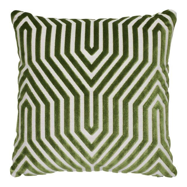 """Contemporary Schumacher Vanderbilt Velvet Lettuce Two-Sided Pillow - 18ʺW × 18""""H For Sale"""