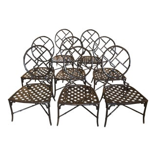 Iron Faux Bamboo Patio Chairs - Set of 8