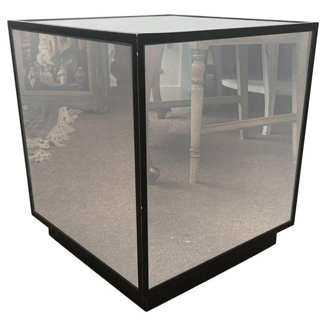 Ralph Lauren Style Antiqued Glass Cube Side Table - Image 7 of 7