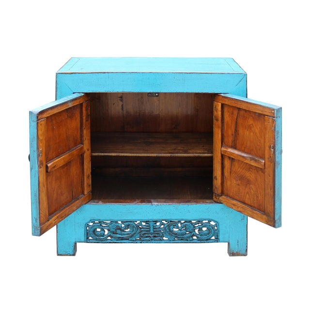 Wood Chinese Distressed Rustic Bright Turquoise Blue Foyer Console Table Cabinet For Sale - Image 7 of 9
