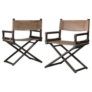 McGuire Pair of Wood, Leather and Brass Director's Chairs, USA, 1950s For Sale