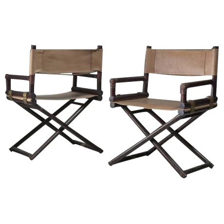 McGuire Pair of Wood, Leather and Brass Director's Chairs, USA, 1950s - Image 1 of 4