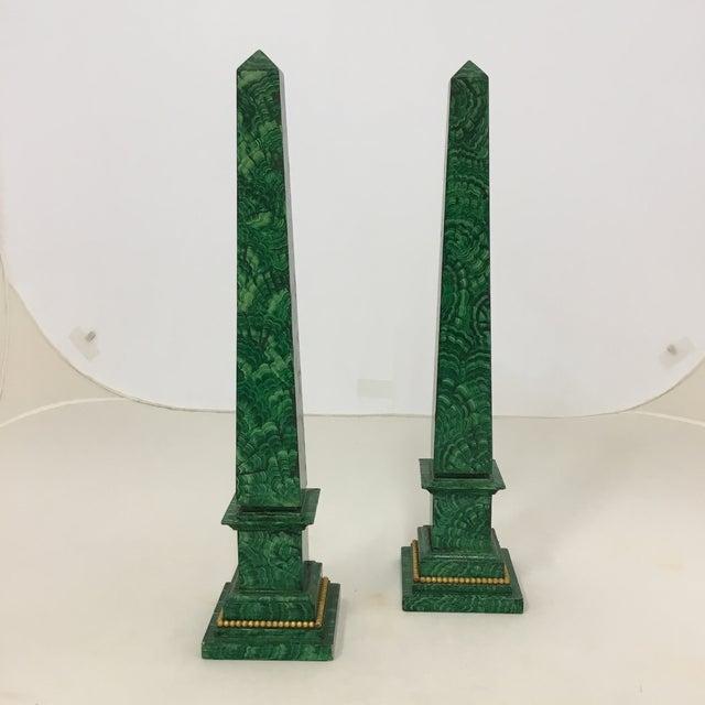 Faux Painted Malachite Obelisks - a Pair - Image 6 of 6