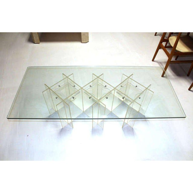 Nice mid century modern design long rectangle lucite and glass coffee table. 60""