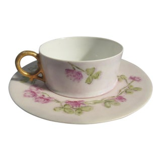 1880s Ak Limoges France A. Klingenberg Clover Flowers and Leaves Cup & Recessed Saucer For Sale