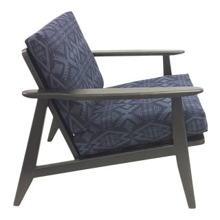 Danish Style Lounge Chair With Pendleton Cushions For Sale