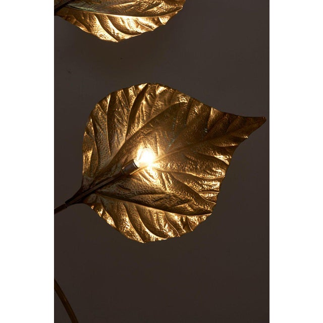 1 of 2 Huge Three Rhubarb Leaves Brass Floor Lamp by Tommaso Barbi For Sale - Image 9 of 13