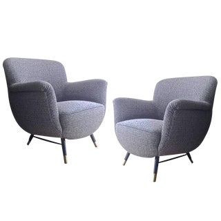 Danish Superb Design Pair of Chairs Newly Covered in Charcoal Chine Cloth