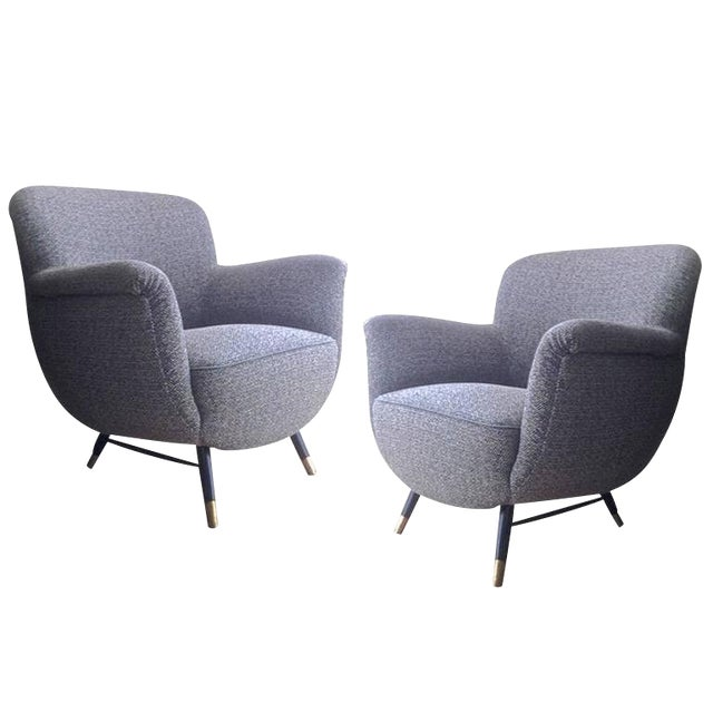Danish Superb Design Pair of Chairs Newly Covered in Charcoal Chine Cloth For Sale