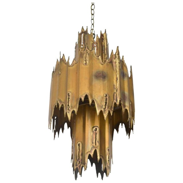 Metal Midcentury Brutalist Torch Cut Chandelier by Tom Greene For Sale - Image 7 of 7