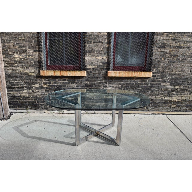 Vintage Chrome Dining Table With Glass Top For Sale In Milwaukee - Image 6 of 8