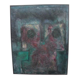 Contemporary Modernist Style Abstract Mixed-Media Painting, Framed For Sale