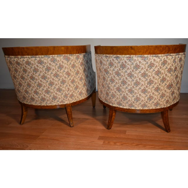 1950s Biedermeier Style Burl Fruit Wood Fireplace Chairs - a Pair For Sale - Image 9 of 13