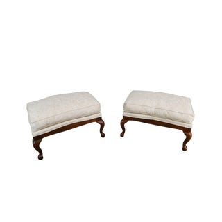 Fairfield French Louis XV Style Pair Cherry Upholstered Ottomans Benches For Sale
