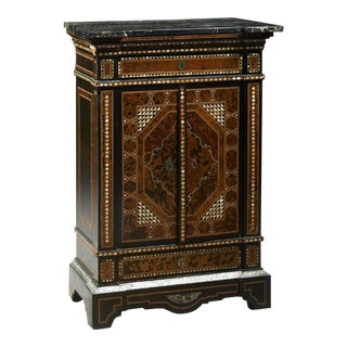 Moroccan Style Mother-Of-Pearl Inlaid Marble Top Cabinet For Sale