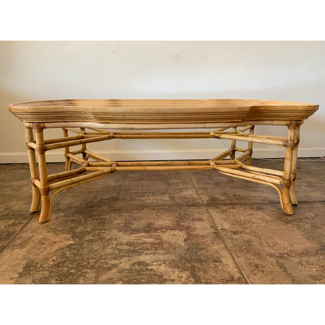 Boho Chic Vintage Boho Chic Bamboo and Wood Coffee Table For Sale - Image 3 of 7