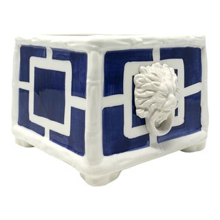 Greek Key Small Cachepot in Navy For Sale