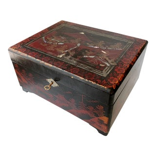 Antique Japanese Lacquer Mother of Pearl Musical Jewelry Box For Sale