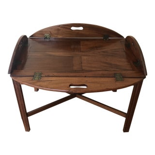19th Century English Butler Mahogany Tray Table For Sale